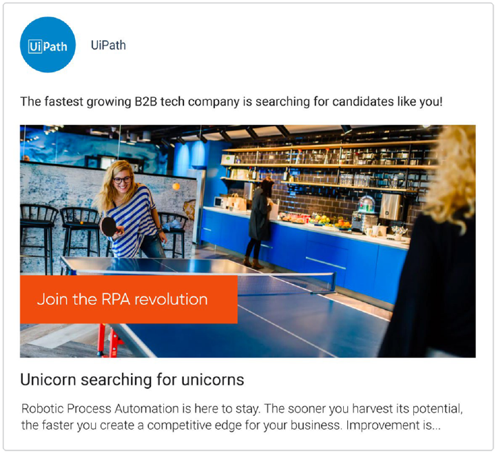 UiPath recruitment marketing campaign on Facebook