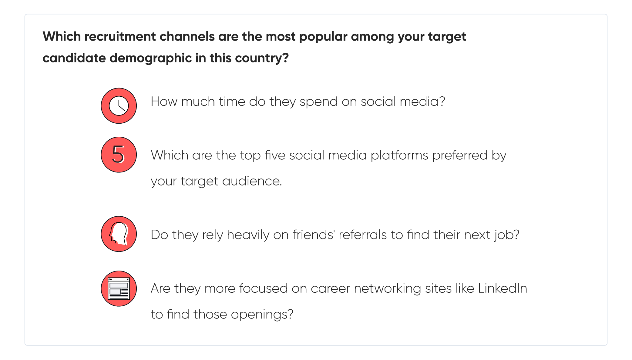 which recruitment channels are the most popular among your target candidate demographic in this country