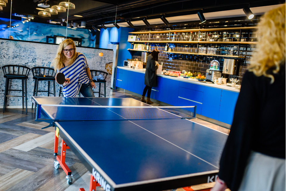 UiPath employees in the game room