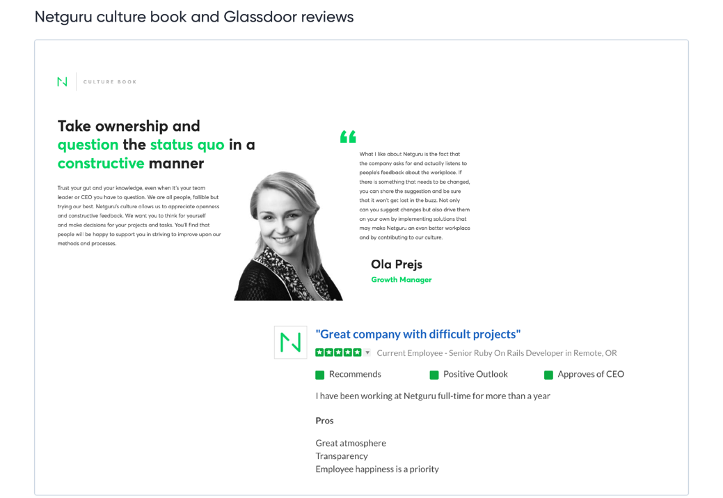 Netguru culture book and Glassdoor reviews