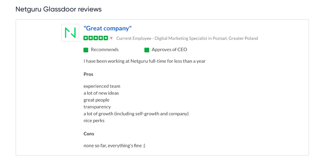 Netguru Glassdoor reviews