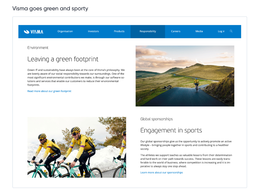 Visma goes green and sporty